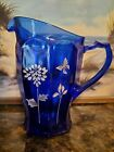 Fenton Cobalt Pitcher Hand Painted with Gold Accents Limited Edition 200 400