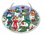 Snowmen Sun Catcher AMIA Large Oval Hand Painted Glass New Hill of Lot Snowman