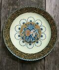 JOHN DERIAN DECOUPAGE PLATE 115 ROUND GLASS FAIENCE COAT OF ARMS LIONS