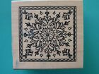 Snowflake Square Frame Design Small OUTLINES Rubber Stamp