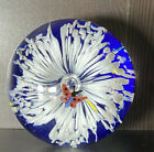 Stunning Paperweight Art Glass White Cascading Flower With Small Butterfly