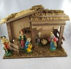 Vintage Sears Nativity Manger Figures Stable Italy 7pc Set Box Creche Christmas