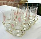 VINTAGE SET OF 8 GLASSES WITH CADDY PINK ROSES WITH GOLD TRIM VERY PRETTY