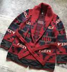 RALPH LAUREN 90S VINTAGE NATIVE KNIT CARDIGAN GOWN MENS LARGE RED USED GENUINE