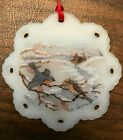 Vintage FENTON Christmas Ornament Birds in Winter signed N Cooper EUC