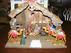 Vintage Sears Nativity Set 10 Figures Wood Stable  Box Italy 32 97893 Complete