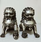 8inch Big Tibet silver Fu Foo Dog Guardian lion argent lucky Statue Pair