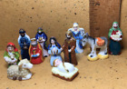 Colorful NATIVITY 12pcs Creche French Feves Porcelain Figurines Miniature D41
