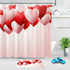 Valentines Day Red Pink Heart Balloons Fabric Shower Curtain Set Bathroom Decor
