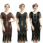 Vintage 1920s Sequins Dress Flapper Great Gatsby Fringed Cocktail Party Dresses