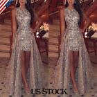 Womens Sequin Sleeveless Maxi Dress Ladies Evening Party Cocktail Prom Ball Gown
