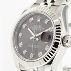 ROLEX LADY-DATEJUST STEEL AND WHITE GOLD ROLESOR 28 MM DARK GREY DIAL 279174DGDJ