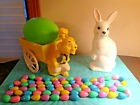 Blow Mold Vtg Lot White Plastic Easter Bunny Cart Egg Garland Rabbit Container