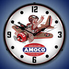 New World War 2 style 1943 Amoco Aviation Gasoline LIGHTED airplane clock  🛩