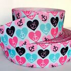 GROSGRAIN RIBBON 7 8  15 Valentines Day Anchors Hearts Summer Printed