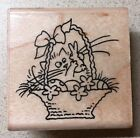 Stampendous Fluffles Bunny Rubber Stamp Easter Rabbit Basket Cat Brand New Stamp