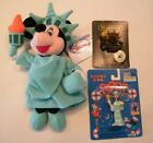 3 Statue of Liberty Collectibles, Disney Beanie, Keychain, Boyd Bear Pi