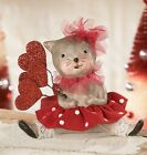 Calico Kitty Cat with Heart Valentine Figurine Bethany Lowe New
