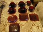 Vintage Rudy Red Anchor Hocking ?  Fire King? Cup Saucer Sugar LOT of  14 pieces