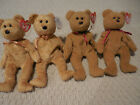 Lot of 4 Ty teddy bear Curly and Cashew  Teddy Beanie Babies Baby MWMT