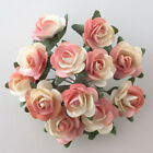 Small Mini Mulberry Paper Rose Flowers 15mm Peach  Ivory Wire Green Bendy Stem