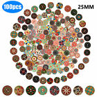 200 100Pcs Wooden 2 Holes Round Wood Sewing Buttons DIY Craft Scrapbooking 25mm