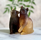 Adorable Pair of Cats Kittens Daum Pate de Verre French Crystal Retail 579