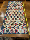 40 In Long Runner Size Quilt Top Pc Calico And Feed Sack Old Textiles Reds Blue
