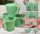 Vintage FIRE-KING Oven Ware Made In USA D Handle JADEITE Coffee Mugs-4PCS