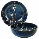 SET of 2 Japanese 775D Rice Noodle Bowl Blue Plum Cherry Blossom Made in Japan