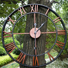 Roman Numeral Large Wall Clock Antique Retro 3D Round Silent Garden In Outdoor