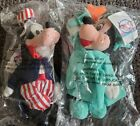 New Lot of 2 Disney Store Beanie Plush Uncle Sam Goofy Liberty Minnie