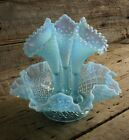 Vintage Fenton Blue Diamond Lace Opalescent Glass Epergne