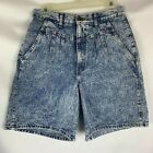 chic womens vintage jean shorts size 9 blue acid washed high waisted mom