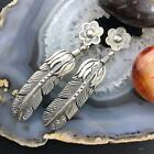 Native American Sterling Silver Engraved Feather Dangle Earrings For Women