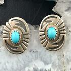 Native American Sterling Silver Turquoise Overlay Oval Stud Earrings For Women