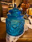 LE Smith Moon And Stars Blue Jar Canister Tea w Lid Vintage Blue Glass 5 1/4