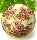 GORGEOUS VINTAGE SATSUMA BUTTON WITH CHERRY BLOSSOMS B5