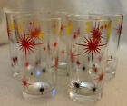 Lot of 5 Atomic Starburst Retro Vintage GlassTumblers Red Yellow Black Stars MCM