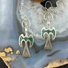 Native American Silver Chip Inlay Peyote Bird Dangle Earrings For Women