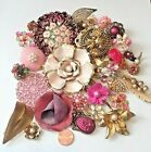Big Lot Vintage Jewelry Flower Floral Single Earrings Pins Parts Bouquet Craft