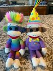 TY BEANIE BABIES HAPPY BIRTHDAY SOCK MONKEY & RAINBOW SOCK MONKEY