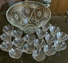 Vtg Anchor Hocking Early American Prescut Punch Bowl Set Clear circa 1960s