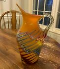 Azerbaijan Glassware Pitcher With Handle Hand Blown Art Glass Red Blue 16 H