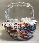 PV04286 Vintage Cased CONFETTI Glass Square Basket with Applied Thorn Handle