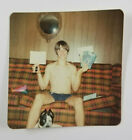 Color Photograph Shirtless Man Wearing Jean Shorts On Couch Vintage Snapshot
