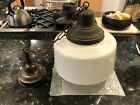 Antique School House Light With Milk Glass Globe