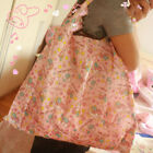 Cute Pink Little Twin Stars Folding Shopping Bag Eco friendly Large Capacity