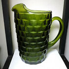 VINTAGE INDIANA GLASS PITCHER CUBIST COLONY WHITEHALL 1960S AVOCADO GREEN LARGE