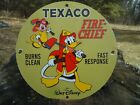 VINTAGE 1967 TEXACO FIRE CHIEF GASOLINE PORCELAIN GAS OIL SIGN! STATION